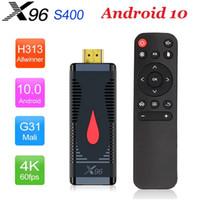X96 S400 الروبوت 10.0 تلفزيون علبة عصا 2 جيجابايت + 16 جيجابايت allwinner h313 2.4 جرام wifi pk h93 tx3