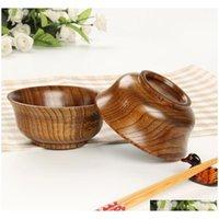 Natural Jujube Bowl Bowl Zuppa di riso tagliatelle Insalata Pranzo Box Stoviglie da cucina per bambini rotondi SQChai Boddet