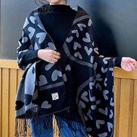 Jacquard 2020 Version coréenne du foulard en forme de cœur de cachemire pour les femmes en hiver Tassel à la mode avec une cape extérieure chaude