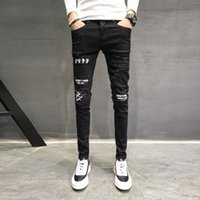 Outono Nova Jeans Men Marca Preto Slim Fit Pants Casual Men Personalidade patch denim design Skinny Jeans Hip Hop Calças