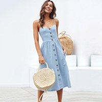 Повседневные платья простые мода женщины без рукавов летнее платье цветочные печать талии BOHO Spring Streetwear дамы глубокие V-образные вырезы длинные сексуальные