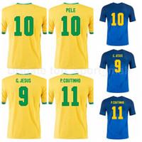 Homens Soccer 10 Neymar Jr Jersey 9 Jesus 11 Coutinho 2 Silva 21 Richarlison 5 Casemiro 13 Dani Alves Camisa de Futebol Kits B-X