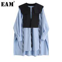 [EAM] Donne Blue Split Big Size Camicetta lunga camicetta nuovo girocollo manica lunga a maniche lunghe shirt allentata moda moda marea primavera autunno 1x740 201028