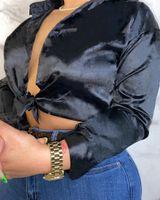 Frauen-Mode-Blusen-Knopf-Herbst-Winter-Nacht-Club-Kleidung Hemden S-2XL-Revers-Nacken-Knopf-Langarm-sexy Kleidung Freies Verschiffen 4208