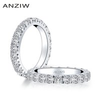 Anziw 925 Sterling Silver 3.0mm Rodada Corte Anel de Eternidade Full para Mulheres Simulado Diamante Noivado Casamento Banda Anel de Jóias 201218