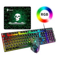 T6 RGB Gaming Teclado Mouse Combos Backlit Luz Colorida Ergonômica Mecânica USB Conjunto de Ratos Gaming Gaming Set para Laptops Computador