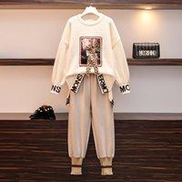 Frauen 2 Stück Hose Set 2019 Plus Size Fall Winter gestrickt Muster Mädchen Lose Pullover und Woolen Casual Hose Anzug T200702
