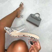 Sandalias Cajdly Clear PVC Jelly Sobre Toe Alto Tacones Altos Mujeres Transparente Persplex Slippers Zapatos Tacón Clear1