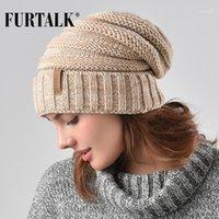 Furtalk الشتاء محبوك قبعة المرأة قبعة slouchy قبعة للفتيات skullies قبعة A0471