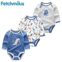 Bebek Pamuk Komik O-Boyun için Getirici Hayvan Bodysuit Bebek Giysileri Tam Kollu Erkek Kız Giyim Ropa Bebe 201027