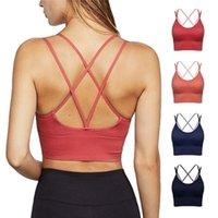 Gym vêtement respirant femmes mince croix bandoulière couleur solide couleur de forme de yoga soutien-gorge madame sous-vêtements sans soudure simple gilet gilet sport fr