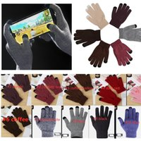 Hiver tricoté molleton tactile écran glovers unisexe solide vierge confetti couleur téléphone tampon tactile tactile gant gant gant cyclisme sport ly112502
