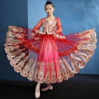 Traje de baile femenino adulto Traje de baile Sari 2019 Nuevo sexy Xinjiang Belly Disfrazaje moderno Estilo étnico Traje1