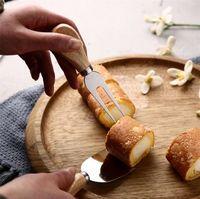 أدوات الجبن المفيدة مجموعة 4 قطعة / المجموعة البلوط مقبض سكين شوكة مجرفة عدة مخالفات لقطع الخبز الجبن مجموعات زبدة البيتزا القطاعة القاطع ZZC3632