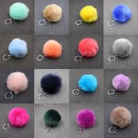 8cm Christmas Gift Artificial Rabbit Fur Ball Plush Fuzzy Fur Key Chain POM POM Keychain Car Bag Keychain Key Ring Pendant Jewelry