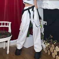 Pantaloni punk di Houzhou per le donne 2020 Catena di moda Pantaloni a gamba larga Black Hip Hop Pantaloni Cargo Pantaloni Donne Pantaloni Hippie Donne Streetwear Y1121