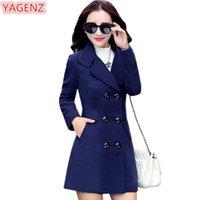 Yagenz Смесись шерстяные пальто садовые пальто осень осень зимние пальто и куртки женщины плюс размер пальто женские шерстяные пальто длинные вершины 647 LJ201106