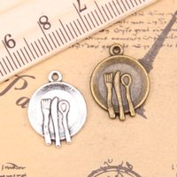 90 unids encantos cocina vajilla tenedor cuchara 20x15mm antiguo plata colgantes plateados haciendo bricolaje hechos a mano de plata tibetana joyería