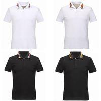 Bahar Lüks İtalya Tee T-shirt Tasarımcı Polo Gömlek Yüksek Sokak Nakış Jartiyer Yılanlar Küçük Arı Baskı Giyim Erkek Marka Polo Gömlek