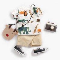 Kisbini 2020 детская одежда одежда мальчик детское мультфильм напечатанные короткие рукава футболка + шорты 2 шт. Летних мальчиков одежды Set1