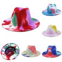 Tie Dye Jazz Hat Formal Sombrero Lady Field Fedora Hats Fashion Estilos Británicos Ancho Caps de ala de ala Unisex Trilby Chapeau para hombres Mujeres Z2167