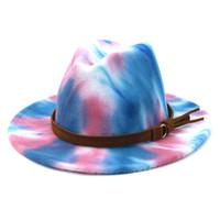 التعادل صبغ الجاز كاب النساء الرجال واسعة بريم القبعات الرسمي قبعة رجل بنما قبعة امرأة شعرت فيدورا قبعات رجل تريلبي عشاق الأزياء والإكسسوارات 2021 جديد