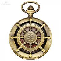 KS retro bronce barco timón patrón de anclaje Mapa Mapa analógico Relogio FOB Key colgante Reloj de reloj Reloj de bolsillo / KSP106 T200502