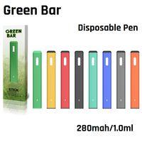 Barra verde autêntica caneta de vape descartável recarregável 280mAh 1.0ml vaporizador para Óleo espesso Vapor pod starter kit por ovns