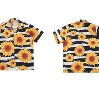 Gonthwid girasol flores impresión manga corta raya playa hawaiian playa aloha shirts verano tops casuales streetwear hombres hip hop camisa J1216