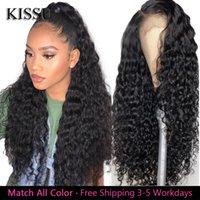 Кружевные парики Kissu Water Wave WiG 100% Человеческие Волосы Бразильские Курливые изделия Водяной Волна Долгая продажа для Черных Женщин