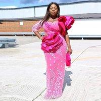 Hot Pink Prom Gowns With Sleeve abiye Straight Evening Dress Vestido Longo robe de soiree Ruffles Evening Dresses Applique