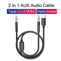 Cable de audio de extensión de automóvil estéreo de tipo C y 3.5 mm a 3,5 mm AUX AUX Cables de audio para teléfono Android con paquete de venta al por menor