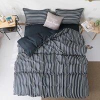 58 faixa preta geométrica 3/4 pcs capa de cama conjunto dos desenhos animados tampa de edredão lençóis e fronhas conjunto de cama de edredom