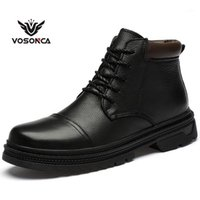 Homens vosonca botas de couro vintage botas boots homens sapatos casuais moda alto corte de pelúcia manter aquecido casual sapatos1
