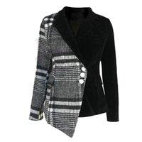 Lanmrem Новая осенью и зимний поворотный воротник полные рукава шерсть лоскутное бархатные кнопки высокая талия куртка WL07601XL 201026