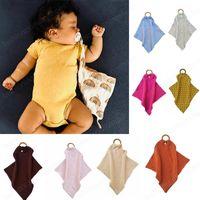 Bebek Uyku Yatıştırıcı Battaniye Bebek Yürüyor Oyuncaklar Pamuk Banyo Havlu Yenidoğan Bebek Ahşap Daire Battaniye 18 Renkler Burp Bezler Önlükler