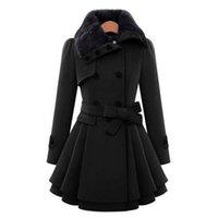 모직 코트 더블 브레스트 옷깃 롱 코트 여성 두꺼운 가을 겨울 슬림 벨트 Pleated 트렌치 코트 레이디 모피 칼라 Peacoat LJ201110