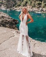 Meer Feiertag Kleid v Neck Sleeveless Backless A Line Ballkleid Lange Formale Partei Halfter Weiße Spitze Blume Prom