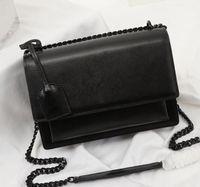 Sac à rabat de haute qualité Sac de sacs de luxe de luxe Sunset En Cuir Original Femmes Sacs à bandoulière Mode Moyenne Crossbody Dust Boîte-cadeau