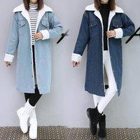 Hodisytian Kış Moda Kadınlar Siper Kalın Ceket Tam Kollu Polar Sıcak Ince Uzun Denim Rüzgarlık Giyim Casaso Femme