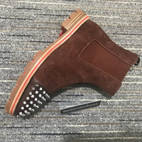 Nuevos fondos rojos Melón Vintage Hombres botas Kanye Martin Motorcycle Boot for Men Chaussure Red Sole Cowboy Spikes Deisigner Shoes Boot