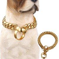 14 ملليمتر الأزياء الكلب سلسلة طوق الذهبي الفولاذ المقاوم للصدأ زلة الكلب الياقات للكلاب الكبيرة قلادة خنق قوي للقلادة الفرنسية البلدغ 201106