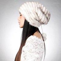 Beanie / Kafatası Kapaklar Örme Gerçek Şapka Kürk Kap Kadın Bere Kova Isıtıcı Kış Retro Cap14620A1