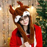 크리스마스 선물 솜털 귀여운 모자 산타 클로스 엘크 모자 메리 크리스마스 장식 귀 - 움직이는 새끼 사슴 사랑스러운 모자 플러시 장난감 파티 호의 모자 vtky2074