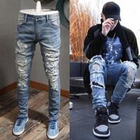 Blue Strass Jeans Uomo Slim Fit Matita Jeans Elastico Spandex Jeans per uomo Vintage Cowboy Denim