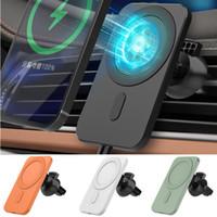 15W 마그네틱 자동차 무선 충전기 빠른 충전 마운트 공기 배출 전화 스탠드 아이폰 12 프로 최대 12 미니 Magsafe 자동차 홀더