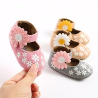 첫 번째 워커 아기 소녀 메리 제인 아파트, Soft Sole 유아 슬리퍼 해바라기와 자수 공주 드레스 신발
