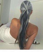 Frauen lange gerade Wickel um Pferdeschwanzverlängerung Human Hair Stück Clip in Haarverlängerungen (gerade, silbergrau) Pferdeschwänze billig