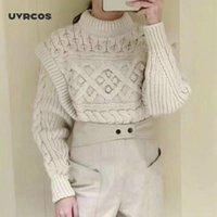 Frauenpullover UVRCOS O-Neck-Pullover-Langarm-gefälschte zweiteilige einfarbige Farbe 2021 Frühling Herbst Strickwaren Pullover Tops