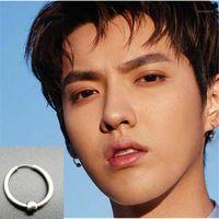 KPOP DNA Korean V Simple Men 's Round Titanium Steel Earrings 남성용 보석 액세서리 Hipster Rock 스타일 펑크 원형 귀걸이 1